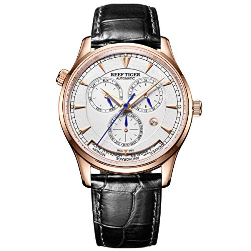 Reef Tiger Men's World Time Watches Rose Gold Automatic Analog Watches with Date Day RGA1951