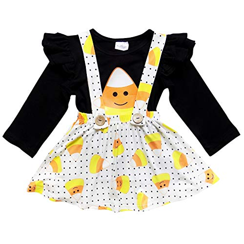 So Sydney Suspender Skirt 2 Piece Outfit, Girls Toddler Fall Holiday Dress Up Boutique Outfit (XL (6), Candy Corn)
