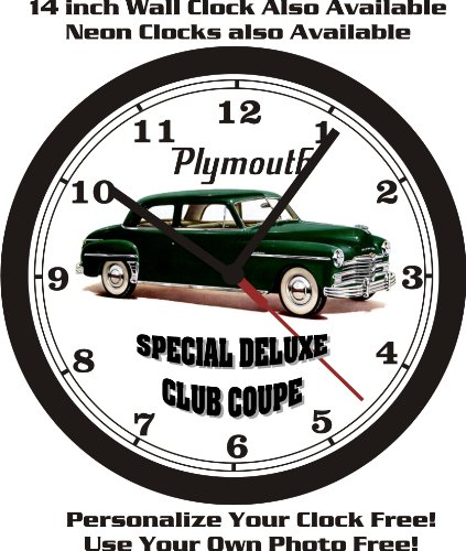 1949 PLYMOUTH SPECIAL DELUXE CLUB COUPE WALL CLOCK-FREE USA ()