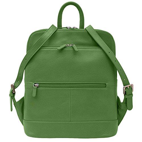 ili Leather 6505 Backpack Handbag (Emerald) by ILI