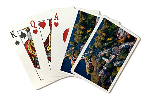 Cambridge, Massachusetts - Aerial View of Eliot House Clock Tower, Harvard - Photography A-93083 (Playing Card Deck - 52 Card Poker Size with Jokers)