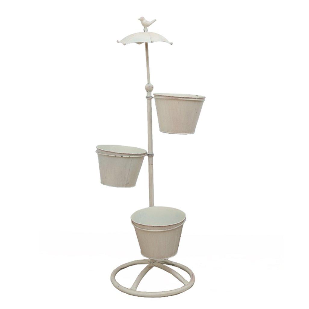 J-園芸ラック ラワースタンド フラワーラック3つの植物フラワーポットホルダーシェルフのための鉄の金属の立っているフラワーシェルフ屋内のバルコニー、リビングルーム、および市販の装飾用ラックのためのスタンドラックガーデンストレージシェルフ(フラワーポット付き) B07CSR1XG9