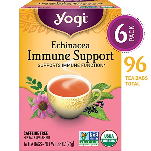 Yogi Tea - Echinacea Immune Support - Supports Immune Function - 6 Pack, 96 Tea Bags Total