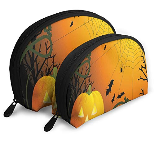 Shell Shape Makeup Bag Set Portable Purse Travel Cosmetic Pouch,Halloween Themed Composition With Pumpkin Leaves Trees Web And Bats,Women Toiletry -