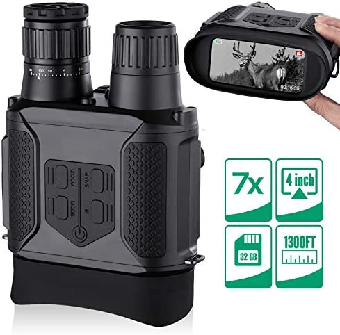 Night Vision Binoculars, Photos Videos Modes – 3.5-7x31mm Zoom Infrared 850nm – 4 Large Screen 1300ft Viewing Range with 32G Memory Card Compatible USB Power Supply