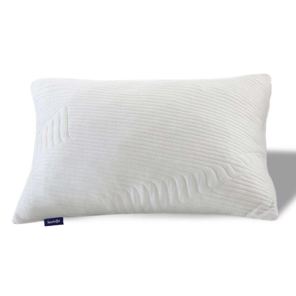 Sweetnight Bamboo Bed Pillows for Sleeping - Adjustable Loft Gel Shredded Memory Foam Pillow with Removable Case for Neck Pain Relief,Side Back Stomach Sleeper, CertiPUR-US & Hypoallergenic, Queen