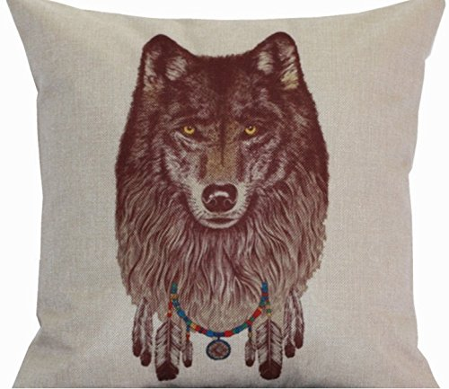 Lion Mascot Wolf Ferocious Animal Vivid Massage Zip DIY Bedding Sofa Car Decorative Pillows Fiber Case Cover Travel Flax Cotton Linen Home Decor Kids Gift 18''X18''