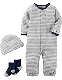 Baby Boys' 3 Piece Striped Bodysuit Set