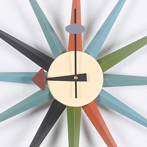 MCC Sunburst Atomic Wooden Wall Clock Mid Century Multi Color Handmade Antique Retro Telechron Danish Nelson Style , color by MCC (Image #1)