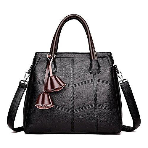 Penao Bordado línea PU bolsa de hombro solo, moda bolso de mano de tres pisos, tamaño 30cmx12cmx26cm Black