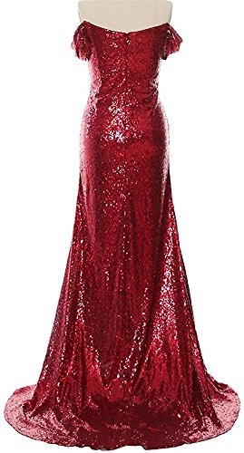 Prom Shoulder Long Bridesmaid Mermaid Women's Sequins DreHouse Gold Dress the Off Dresses wYqF8xU