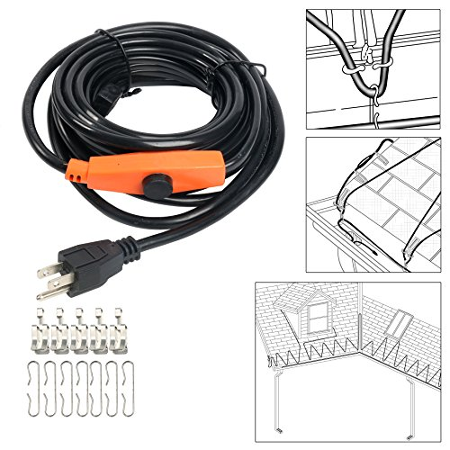 Big Save! 9milelake Heat Roof Gutter De-icing Ice Snow Melter Cable Tape Kit - 20FT , with Thermosta...