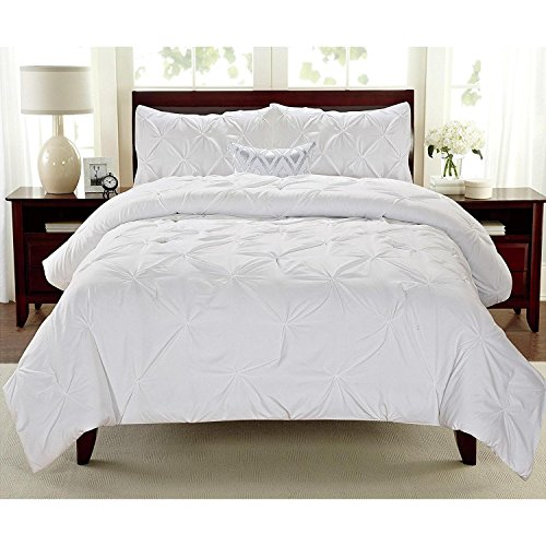 3pc Girls White King Abstract Pintuck Pinched Pleat Patterned Comforter Set, Polyester, Milk White Shabby Chic Tuffted Adult Bedding Master Bedroom French Country Vibrant Colorful Elegant by D&D
