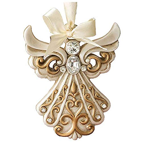 (1 Antique Ivory Angel Ornament with a Matte Gold Filigree Detailing)