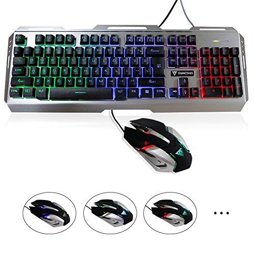 GAMEDIAS Gaming Keyboard Gaming Mouse Combo Rainbow LED Backlit Keyboard Mouse Set Mechanical Keyboard USB Wired Waterproof IPX6 Multimedia Keyboard Office Gaming