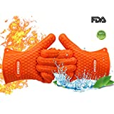 IHUADE | BBQ Oven Gloves Grilling Gloves Silicone Oven Mitts Grilling Mitts Heat Resistant Cooking Gloves Orange (Operating Temperature Up to 450°F)
