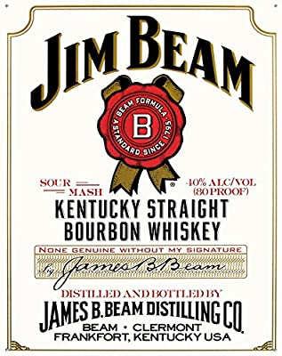 Jim Beam White Label Tin Sign 13 x 16in