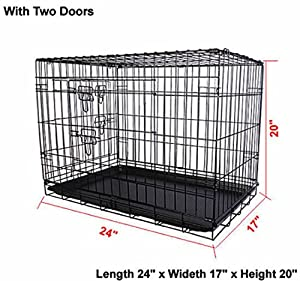 24'' 2 Doors Wire Folding Pet Crate Dog Cat Cage Suitcase Kennel Playpen W Tray Wire Door Metal Safer For Puppy Waterproof And Anti-Rust Easy Cleaning Brand New