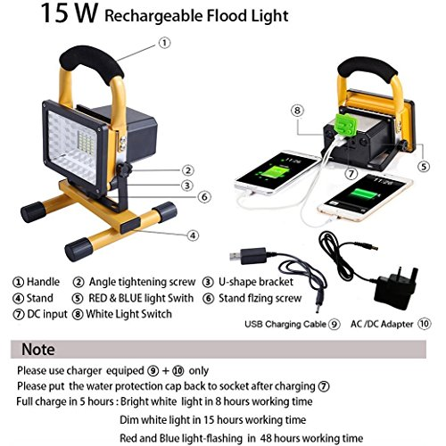 JIN CAN [15W 24LED] Spotlights Work Lights Outdoor Camping Lights, Built-in Rechargeable Lithium Batteries (with USB Ports to Charge Mobile Devices and Special SOS Modes) by JIN CAN (Image #2)
