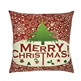 #7: Christmas Pillow Covers, Zulmaliu Happy Christmas Pillow Cases 18 X 18 Christmas Décor Santa Claus Reindeers Christmas Decorative Snowflake Throw Pillow Case Sofa Home Décor