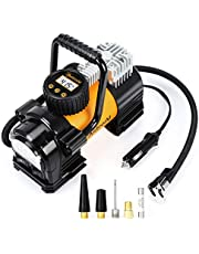 AstroAI Air Compressor Tire Inflator Portable Air Pump for Car Tires 12V DC Digital Tire Pump 150PSI with Emergency LED Light for Cars, Trucks, Motorcycles and Other Inflatables Yellow