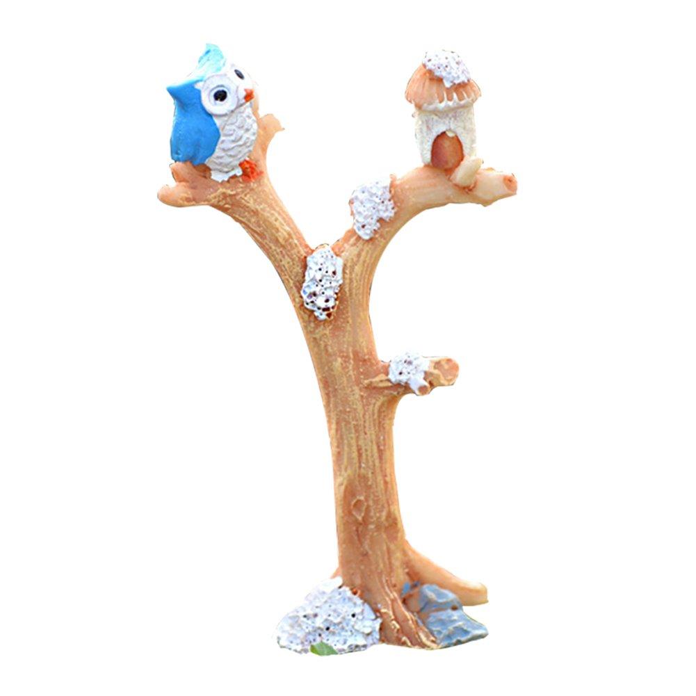 JUNGEN Mini Adornos de Resina Horquilla de árbol Y búho bricolaje Micro paisaje decoración para Jardín macetas bonsai Craft 5.1*8.6cm Amarillo