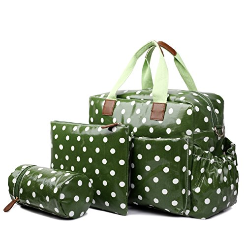 Miss Lulu 4 Piece Polka Dot Baby Nappy Changing Bag Set (Red) verde
