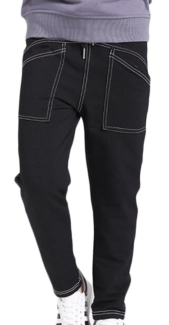 Fulok Boys Elastic Wasit Cotton Solid Color Loose Fit Sweatpants Pants Black 10/12