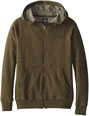 buy popular 885dc e1eae Volcom Big Boys' Pulli Zip Hoodie, Fatigue Green, Medium ...