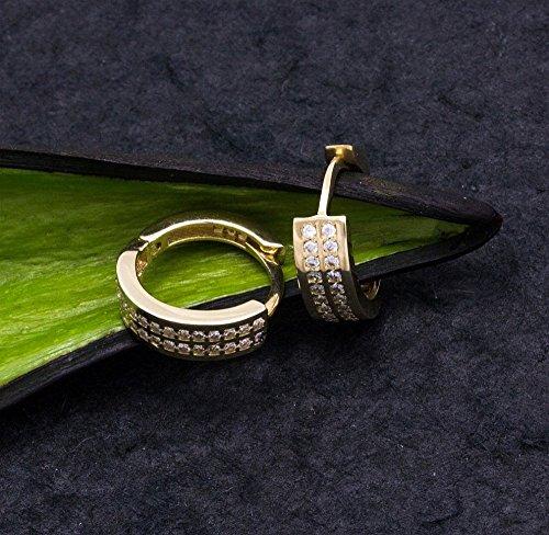 ASS en or 585-Boucles d'Oreilles Créoles Boucles d'oreille 14x 4,5mm avec Oxyde de Zirconium-Blanc