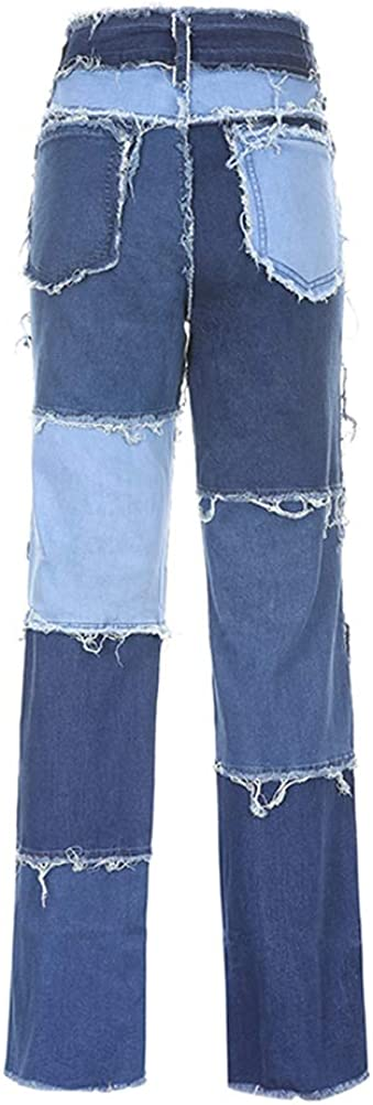 Aton D Women High Waisted Jeans Flare Denim Ripped Trousers Bel Bottom Color Block Patchwork Pants Capris