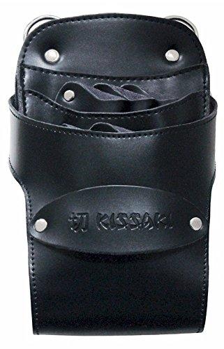 Kissaki Black Genuine Leather Hair Scissors Holster Hairstylists Cosmetologist Tool Pouch