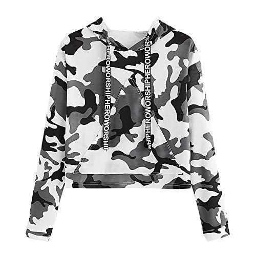 2018 Crop Hoodie,Women's Long Sleeve Camouflage Print Jumper