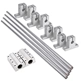 BQLZR 8mm Dia Silver Linear Motion Ball Bearing Rail Guide Support 400mm Shaft Optical Axis Set of 4