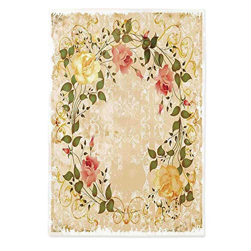 Vintage Dust Proof Tablecloth,Oval Shape Floral Crown with Leaves and Roses Over Damask Motif Shabby Boho for Kitchen Dinning Tabletop Decoration,60''W X 84''L