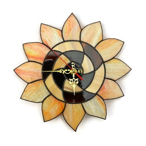 Sunflower wall clock made of stained glass in orange and brown