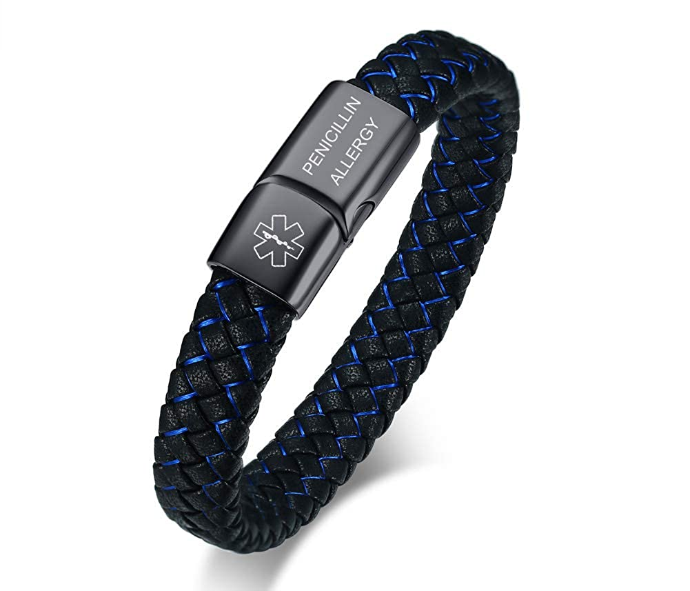 VNOX Blue Braided Leather Medical Symbol Caduceus Magnetic Clasp Cuff Wristband Bracelet,8.0