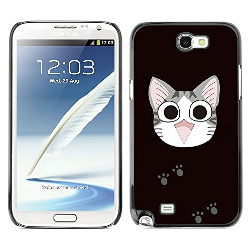 Soft Silicone Rubber Case Hard Cover Protective Accessory Compatible with SAMSUNG GALAXY NOTE 2 & N7100 - Cute Japanese Happy Cat