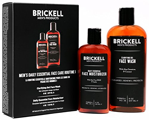 Brickell Men's, Daily Essential Face Care Routine I, Gel Facial Cleanser Wash and Face Moisturizer Lotion, Natural and Organic, Scented