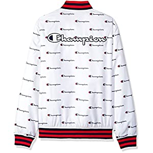Champion LIFE Men's Satin Baseball Jacket, White/Champion Script Print, XL