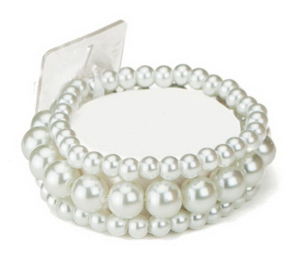 Bubble Pearl Beaded Corsage Wristlet in Sugar White