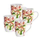 Paula Deen Signature Dinnerware Christmas Wreath Collection 4-Piece Mug Set