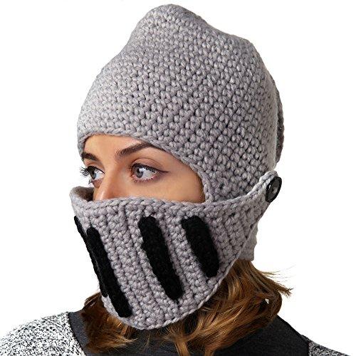 Benmashun Hat Unisex Knitted Cap Roman Knight Helmet Visor Beanie