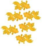 6-Pack Gold Orange Fish Koi Goldfish Textured Animal Decor Silicone Drink Coaster Set Heat Resistant Non Slip Grip Trivet Hot Pad