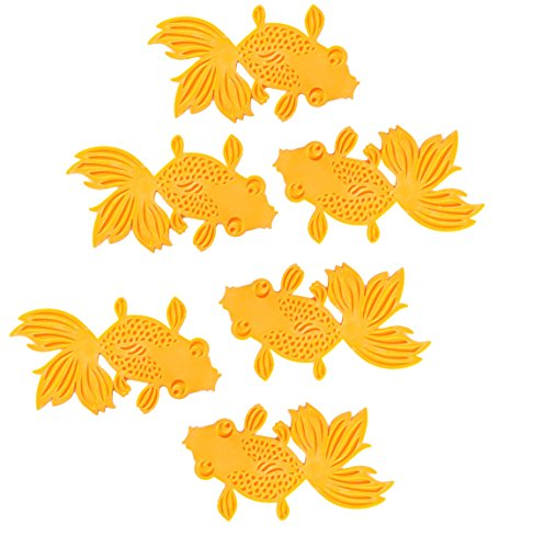 (6-Pack Gold Orange Fish Koi Goldfish Textured Animal Bath Toys Decor Silicone Drink Coaster Set Heat Resistant Non Slip Grip Trivet Hot Pad)