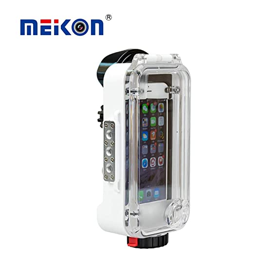 MEIKON iPhone X/6/7/8 Waterproof Case White Bluetooth Control 195FT/60M  IPX8 Certified Waterproof Underwater Swimming Diving Surfing Snorkeling  case