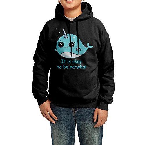 It Is Okay To Be Narwhal Hoodie Youth Pullover Hooded Sweatshirt M