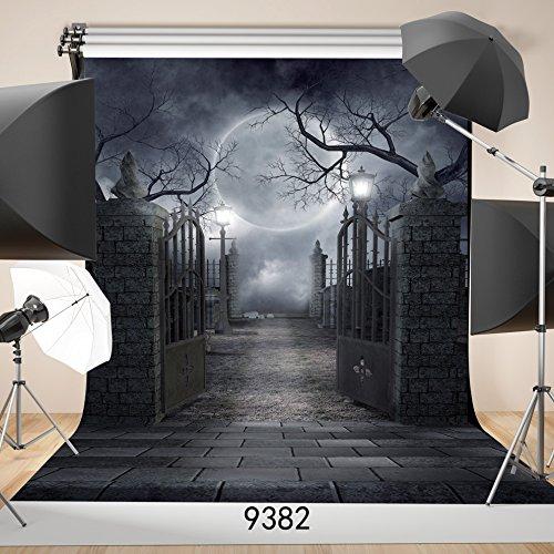 SJOLOON 5ft x 7ft Halloween Vinyl Photo Background Photography Backdrop Moon Night Backdrop Studio Prop 9382 (Halloween Photo Backdrops)