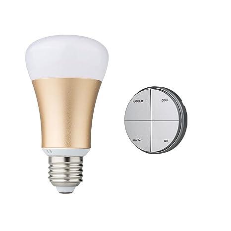 Kit de Bombilla LED inteligente sin pila inalámbrico, bombilla de casquillo E27, casquillo oro