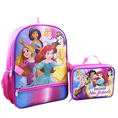 (Disney Girls' Princess Backpack with Lunch Kit, Pink, One Size)
